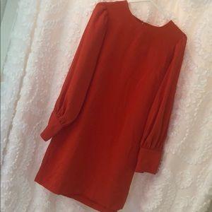 Coral long sleeved short dress